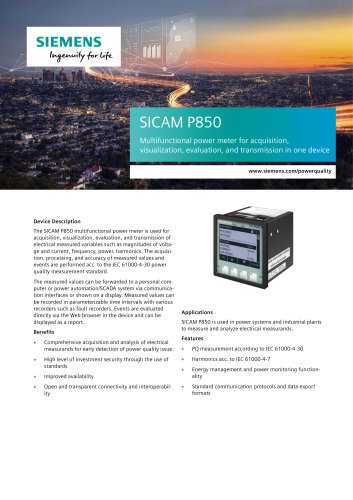 SICAM P850 Multifunctional power meter for acquisition, visualization, evaluation, and transmission in one device