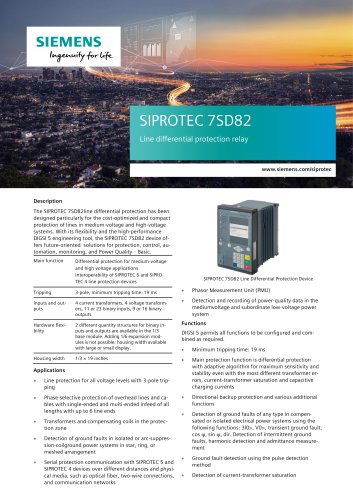 SIPROTEC 7SD82 Line differential protection relay