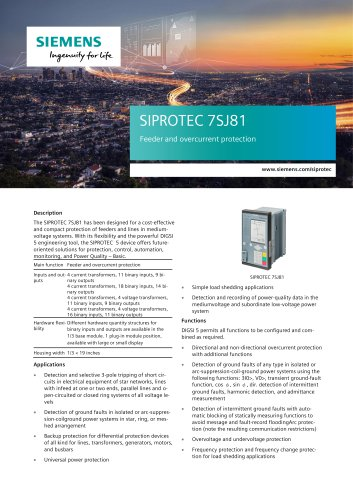 SIPROTEC 7SJ81 Feeder and overcurrent protection