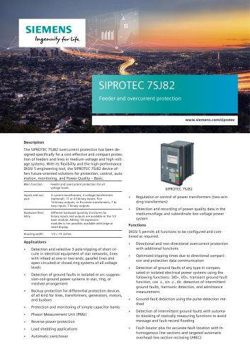SIPROTEC 7SJ82 Feeder and overcurrent protection