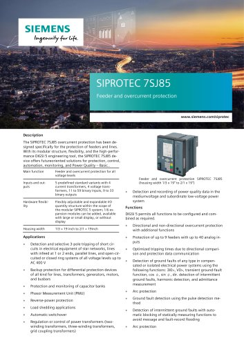 SIPROTEC 7SJ85 Feeder and overcurrent protection