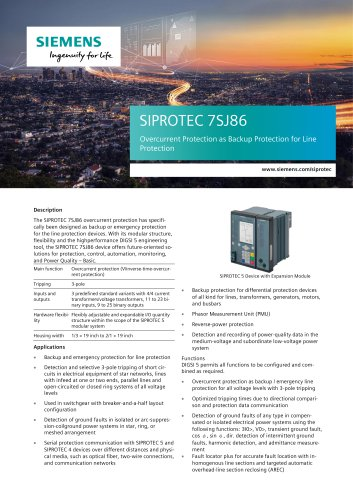 SIPROTEC 7SJ86 Overcurrent Protection as Backup Protection for Line Protection