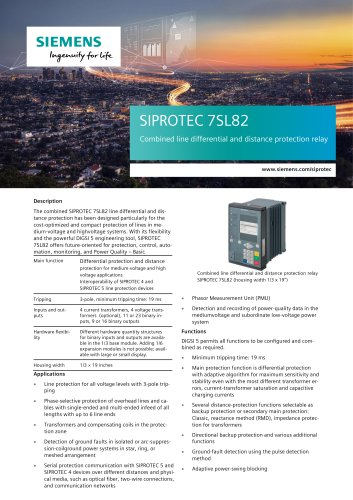 SIPROTEC 7SL82 Combined line differential and distance protection relay