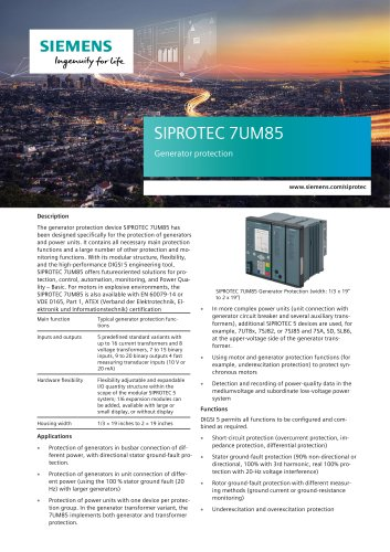 SIPROTEC 7UM85 Generator protection