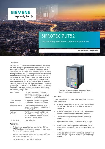 SIPROTEC 7UT82 Two-winding transformer differential protection