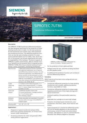 SIPROTEC 7UT86 Transformer Differential Protection
