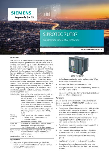 SIPROTEC 7UT87 Transformer Differential Protection