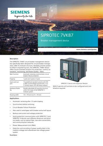 SIPROTEC 7VK87 Breaker management device