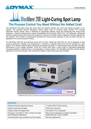 BlueWave 200 Intensity Adjustment UV Curing Spot Lamp Product Bulletin