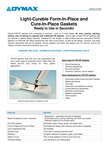 Light-Curable Form-In-Place/Cure-In-Place Gasket Selector Guide