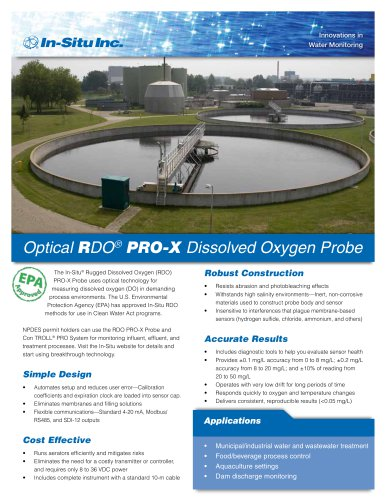 Optical RDO PRO-X Dissolved Oxygen Probe for Process Monitoring Applications
