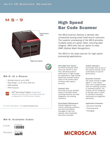 MS-9 High Speed Barcode Scanner