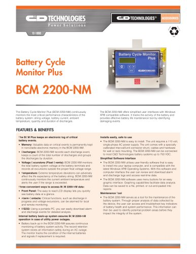 Battery Cycle Monitor Plus  BCM 2200-NM