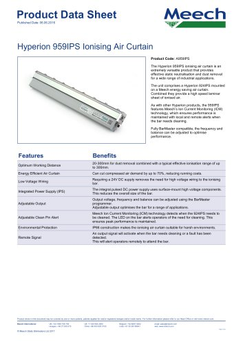 Hyperion 959IPS Ionising Air Curtain