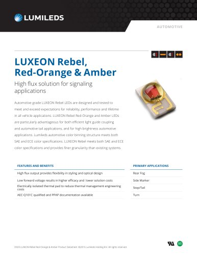 LUXEON Rebel, Red-Orange & Amber High flux solution for signaling applications