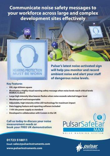 Pulsar SafeEar MAX Noise Warning Sign