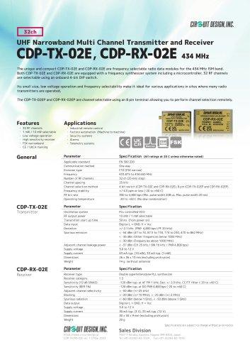 CDP-TX-02E / CDP-RX-02E / CDP-TX-02EP / CDP-RX-02EP: 434 MHz