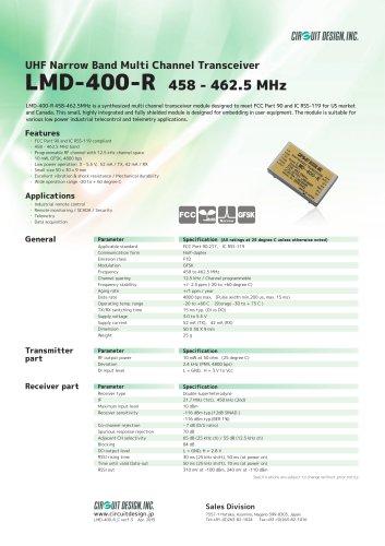 LMD-400-R: 458 - 462.5 MHz