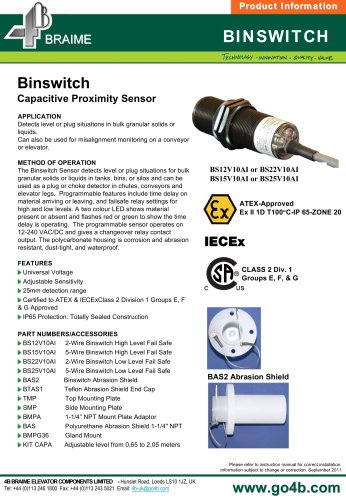 4B Binswitch - Capacitance Point Level Switch