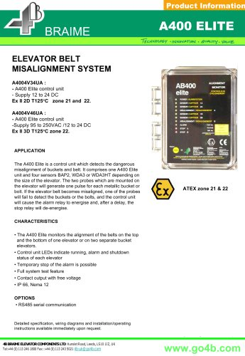 A400 - Belt Misalignment Monitor for Bucket Elevators