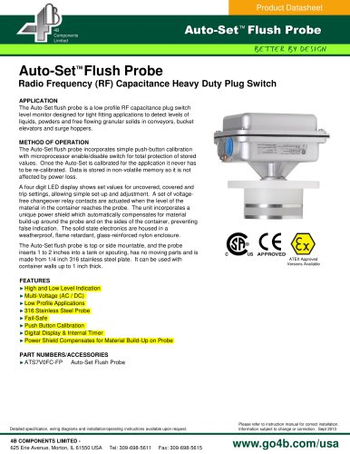 Auto-Set Flush Probe - Radio Frequency (RF) Capacitance Plug Switch