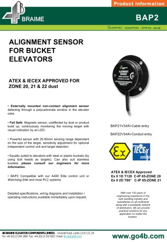BAP2 Alignment Sensor for Bucket Elevators