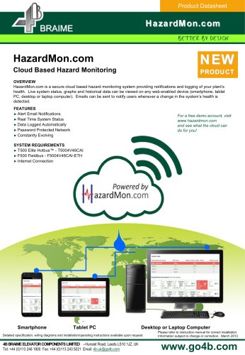 Cloud based hazard monitoring system for elevators / conveyors