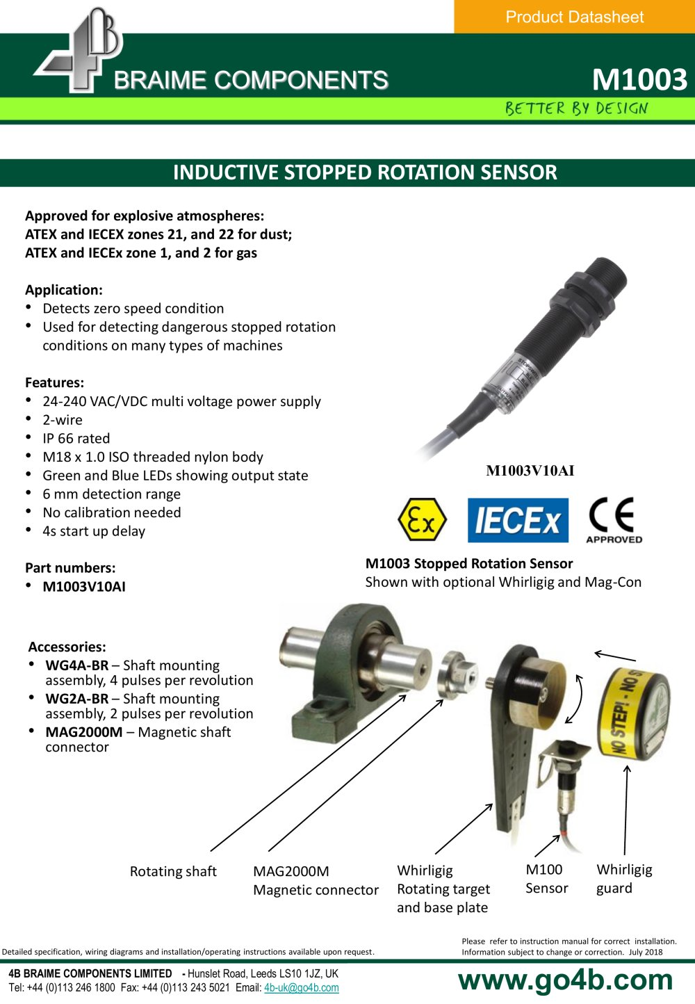 M1003 Inductive Stopped Rotation Sensor 4b Braime Components Pdf Motion 2wire Install Diagram 1 2 Pages