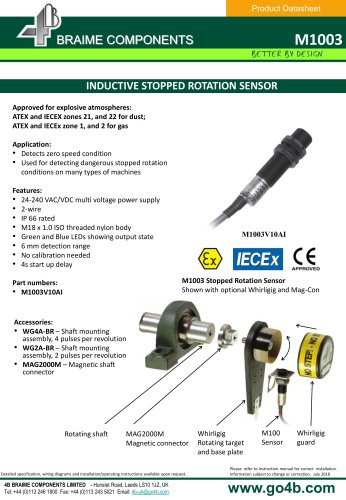 M1003 Inductive Stopped Rotation Sensor