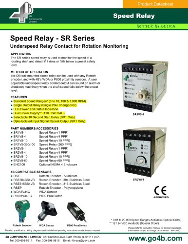 Speed Relay (SR) - Underspeed Relay Contact for Rotation Monitoring
