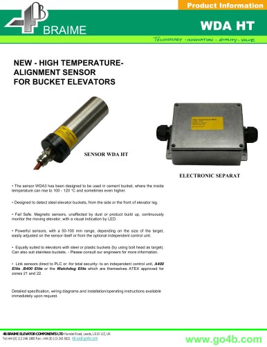 WDA HT - Heavy Duty Alignment Sensor for Bucket Elevators
