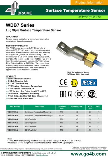 WDB7 Surface type bearing temperature sensors