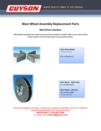 Blast Wheel Assembly Replacement Parts