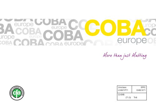 COBA Europe Entrance Matting Systems and GRP