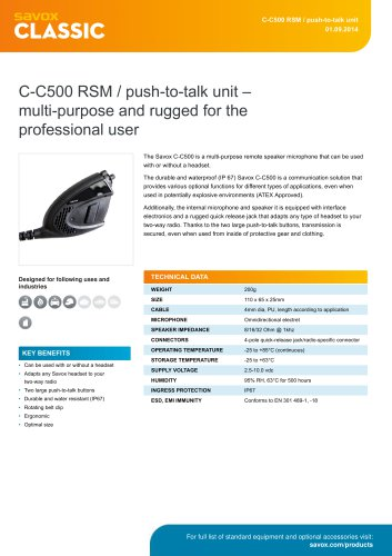 C-C500 RSM / push-to-talk unit ? multi-purpose and rugged for the professional user