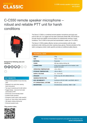 C-C550 remote speaker microphone ? robust and reliable PTT unit for harsh conditions