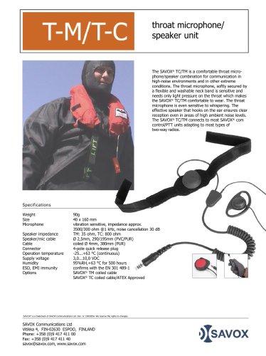 SAVOX® TM/TC throat microphone/speaker unit