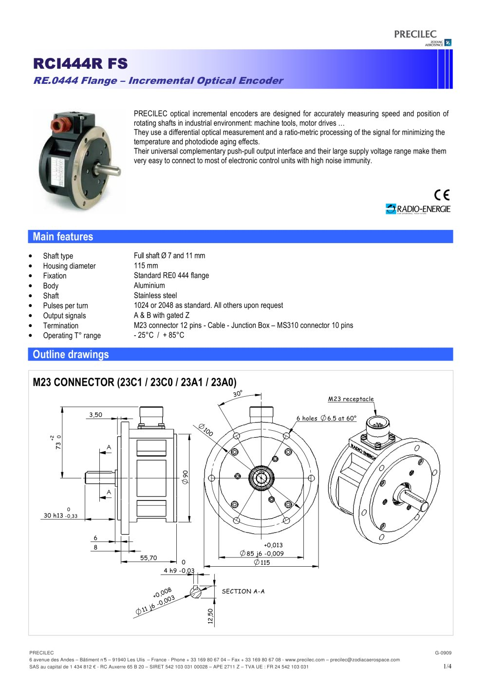 Precilec Radio Energie Incremental Optical Encoder With Re0 444 Dc To Ac Generator Wiring Diagram Tachometer Tacho Flange Reo 1 4 Pages