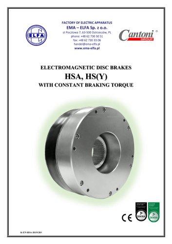 HSA, HS(Y) series - electromagnetic disc brakes