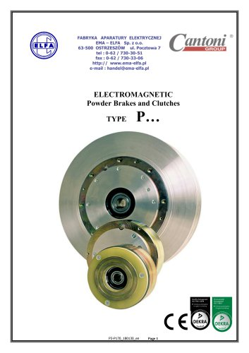 P series - Electrmagnetic Powder Brakes and Clutches