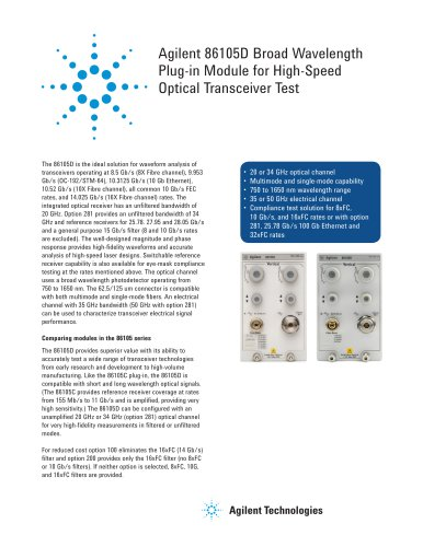 86105D Broad Wavelength Plug-in Module for High-Speed Optical Transceiver Test