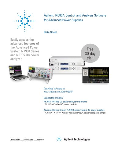 Agilent 14585A Control and Analysis Software  for Advanced Power Supplies