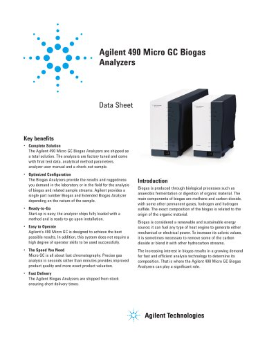 Agilent 490 Micro GC Biogas Analyzers