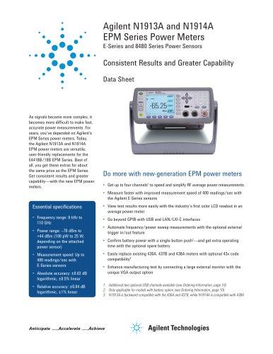 Agilent N1913A and N1914A EPM Series Power Meters