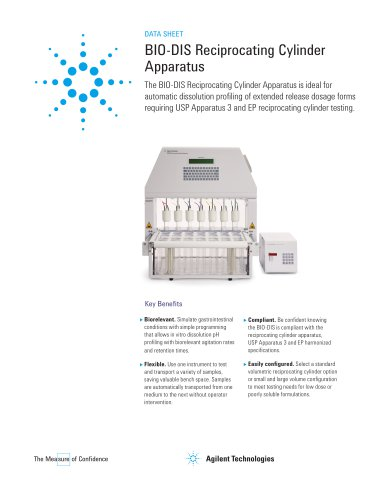 BIO-DIS Reciprocating Cylinder Apparatus - Agilent