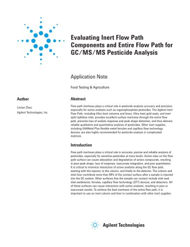 Evaluating Inert Flow Path Components and Entire Flow Path for GC/MS/MS Pesticide Analysis