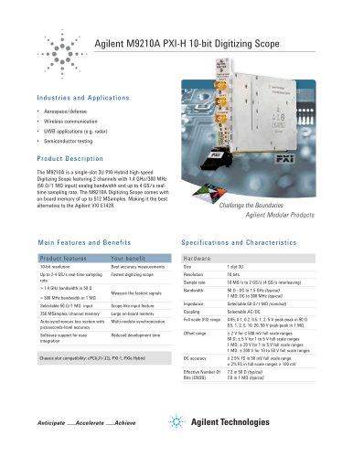 M9210A PXI-H 10-bit Digitizing Scope