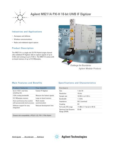 M9211A PXI-H 10-bit UWB IF Digitizer