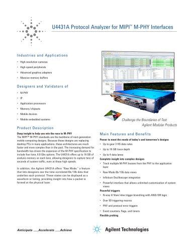 U4431A Protocol Analyzer for MIPI? M-PHY Interfaces