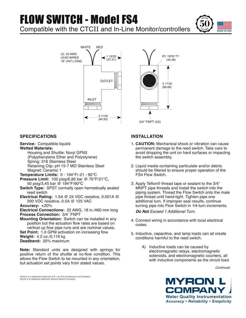 Flow Switch Model Fs4 Myron L Company Pdf Catalogue Reed Wiring Diagram 1 2 Pages